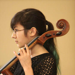 Private lessons student playing cello